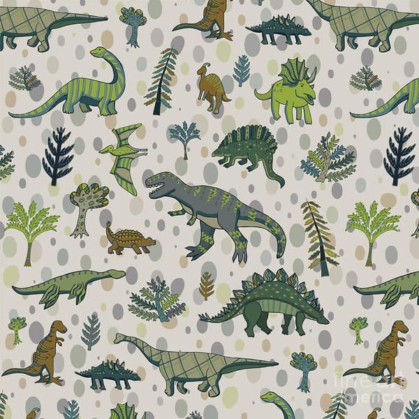 Set Design Digital Art - Dinosaur Pattern by Goosefrol