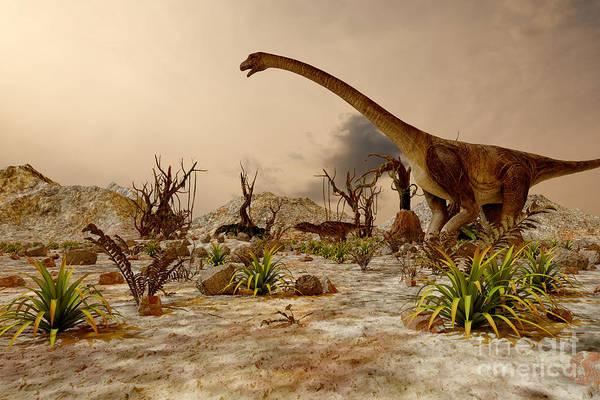 Wall Art - Digital Art - Dinosaur. Prehistoric Jungle by Pavel Chagochkin