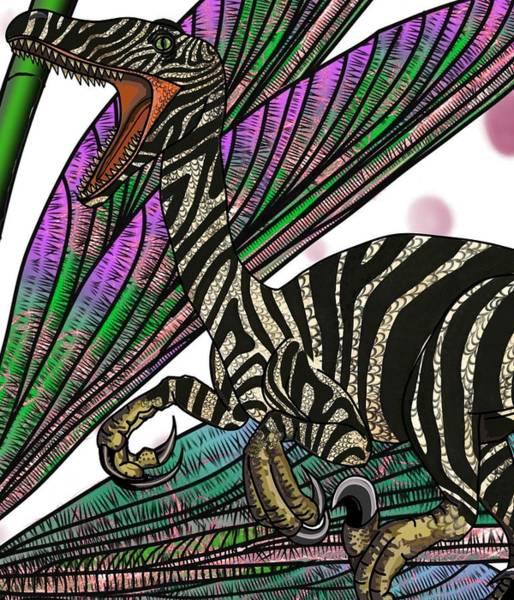 Drawing - Dinosaur Raptor Head by Joan Stratton