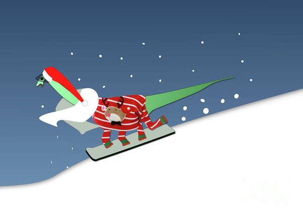Digital Art - Dinosaur Snowboarding In Ugly Christmas Jumper by Barefoot Bodeez Art