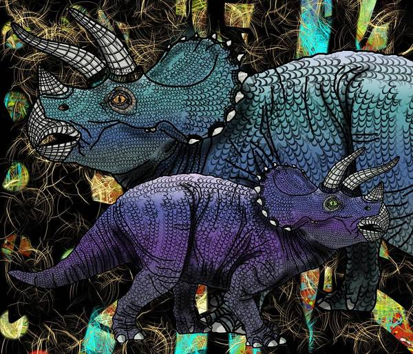 Drawing - Dinosaur Triceratops And Calf by Joan Stratton