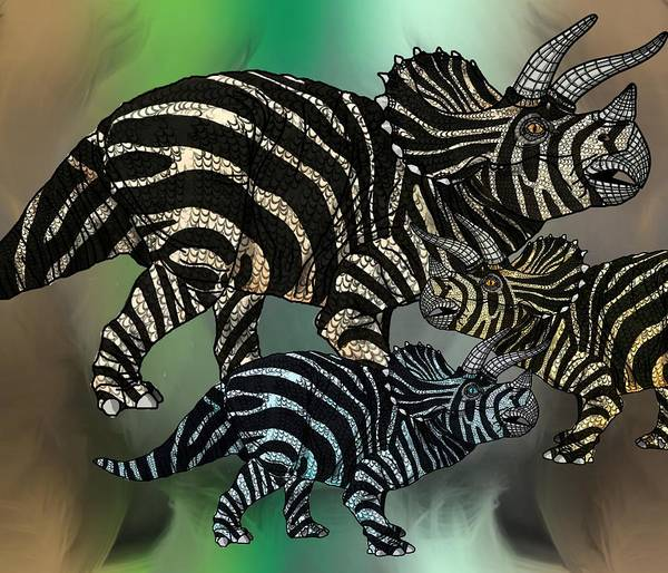Digital Art - Dinosaur Triceratops Family by Joan Stratton