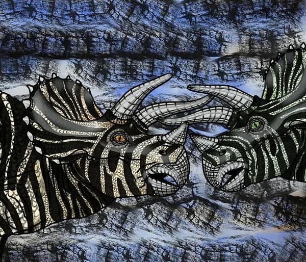Digital Art - Dinosaur Triceratops Head On Battle by Joan Stratton