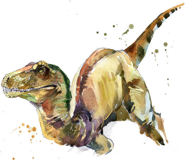 Wall Art - Digital Art - Dinosaur Watercolor Illustration by Faenkova Elena