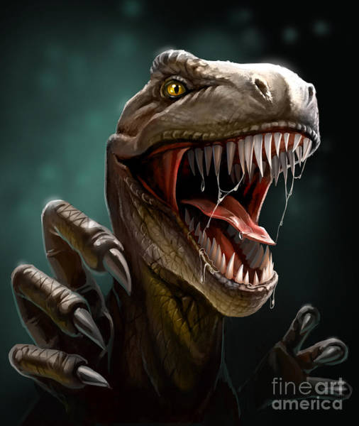 Wall Art - Digital Art - Dinosaur With Teeth And Claws, Close-up by Antracit