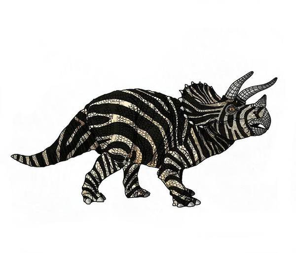 Wall Art - Drawing - Dinosaur Zebra Triceratops by Joan Stratton