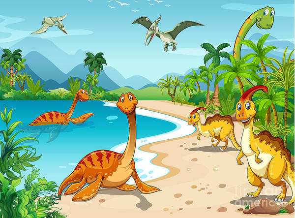 Wall Art - Digital Art - Dinosaurs Living On The Beach by Graphicsrf