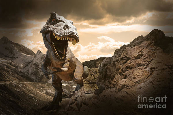 Wall Art - Photograph - Dinosaurs Model On Rock Mountain by Sahachatz