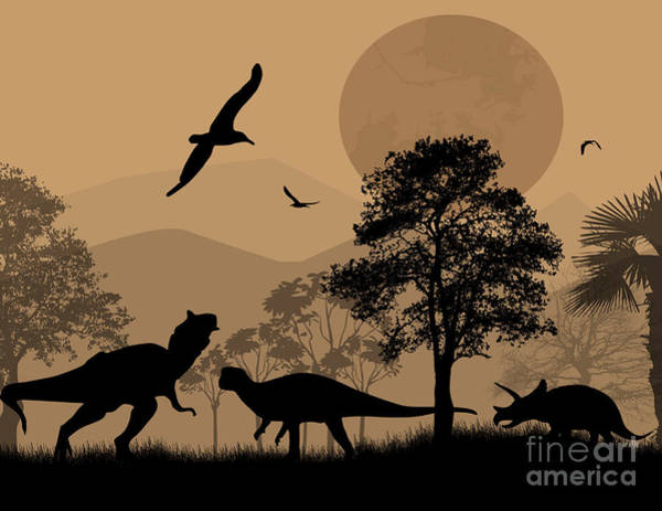 Dinosaurs Silhouettes In Beautiful Art Print