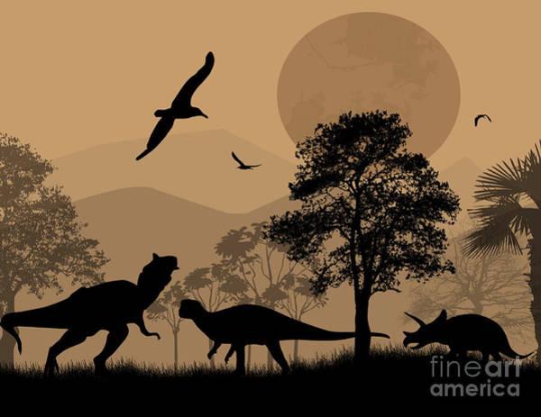 Dusk Wall Art - Digital Art - Dinosaurs Silhouettes In Beautiful by Ducu59us