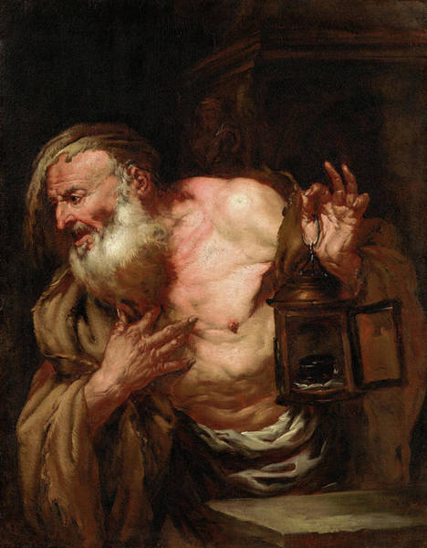 Virtue Painting - Diogenes by Giovanni Battista Langetti