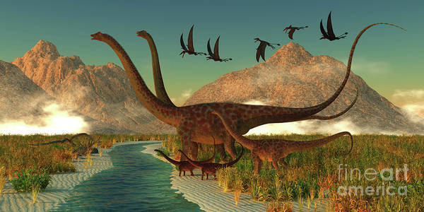 Colorado Wildlife Digital Art - Diplodocus Dinosaur Afternoon by Corey Ford