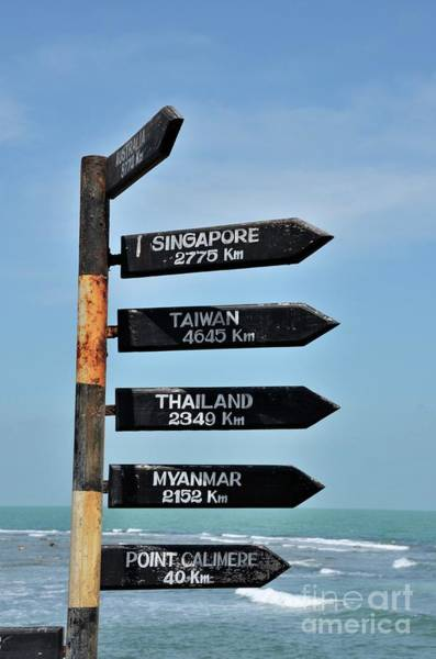 Photograph - Directional Distance Arrows With Kilometers To Australia And Singapore At Beach In Jaffna Sri Lanka by Imran Ahmed