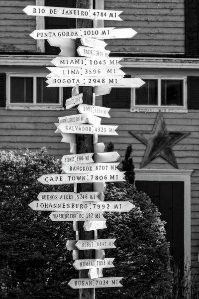 Wall Art - Photograph - Directional Mileage Signs Bw by Susan Candelario