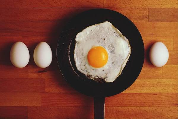 Wall Art - Photograph - Directly Above Shot Of Eggs And Fried by Daniel Kormann / Eyeem