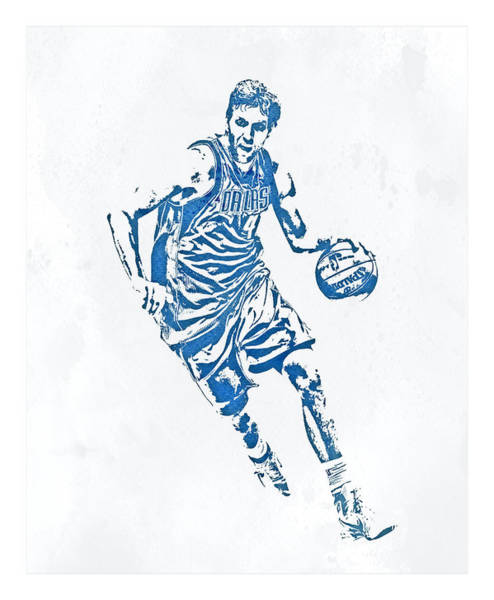Wall Art - Mixed Media - Dirk Nowitzki Dallas Mavericks Water Color Pixel Art 2 by Joe Hamilton