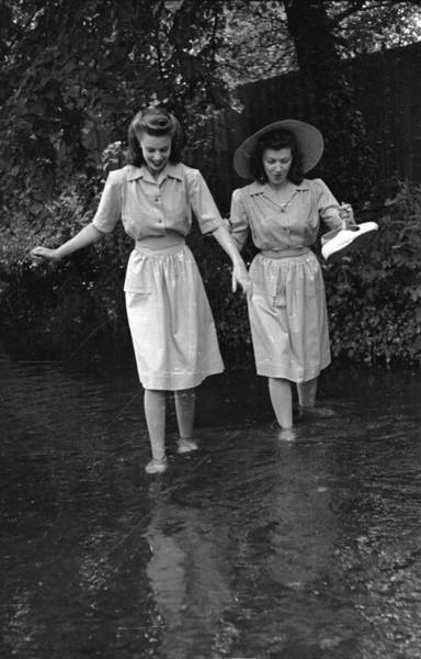 Straw Hat Photograph - Dirndl Dresses by Kurt Hutton
