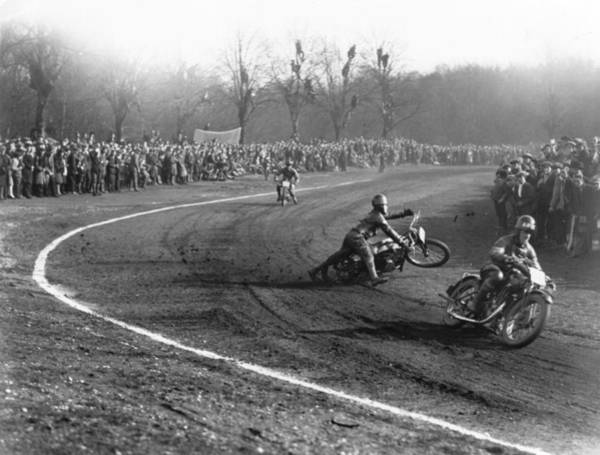 Motorcycle Racing Photograph - Dirt Track Racing by Edward G. Malindine