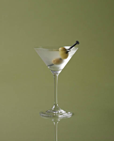 Olives Photograph - Dirty Martini With Olive Garnish On by Mark Lund