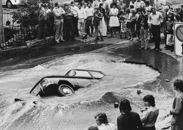 1974 Photograph - Disappearing Car by Hulton Collection