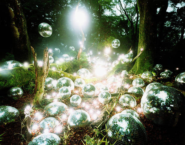 Out Of Context Photograph - Disco Balls And Strobe Lights In Forest by Hiroshi Nomura