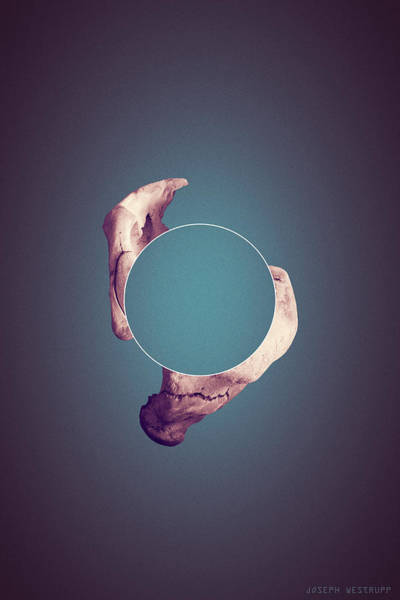 Figurative Abstract Photograph - Disconnect The Dots - Surreal Abstract Elephant Bone With Circle by Joseph Westrupp