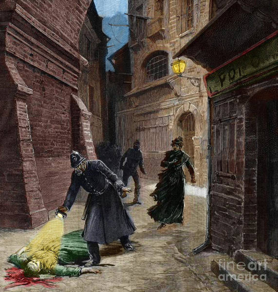 Wall Art - Drawing - Discovery Of A Victim Of Jack The Ripper, Whitechapel, London by Fortune Louis Meaulle