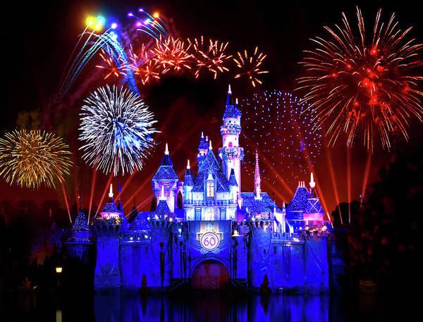 Theme Park Photograph - Disneyland 60th Anniversary Fireworks by Mark Andrew Thomas