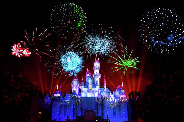 Wall Art - Photograph - Disneyland Fireworks At Sleeping Beauty Castle by Mark Andrew Thomas