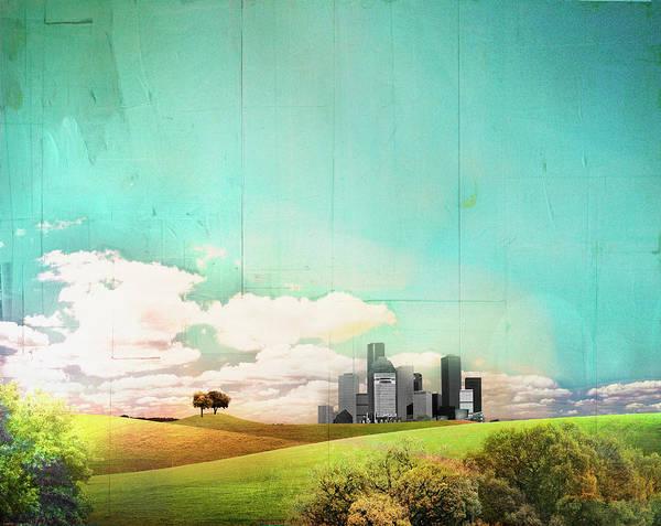 Digital Illustration Digital Art - Distant Cityscape Behind Rolling by Darren Hopes