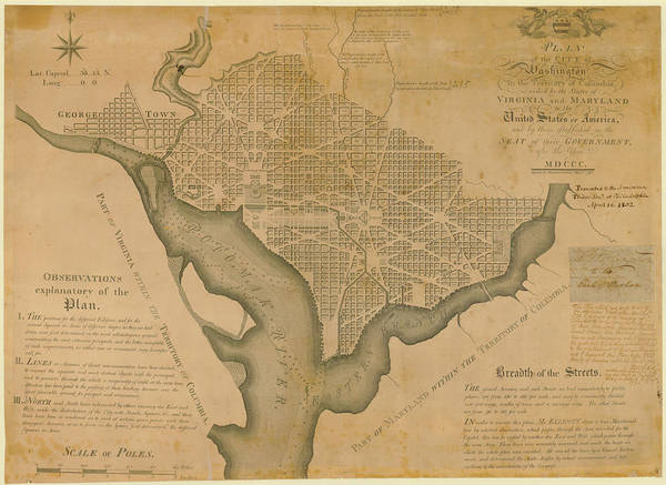 Photograph - District Of Columbia 1792 Washington by Historic Map Works Llc