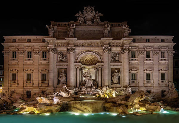 Photograph - Ditrevi Fountain At Night by Jaroslaw Blaminsky