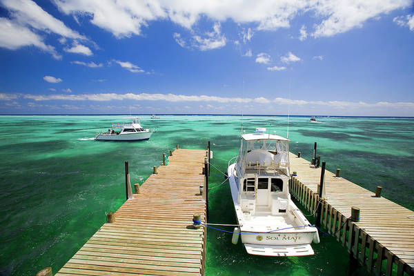 Little People Photograph - Dive Boats, Little Cayman Beach Club by Greg Johnston
