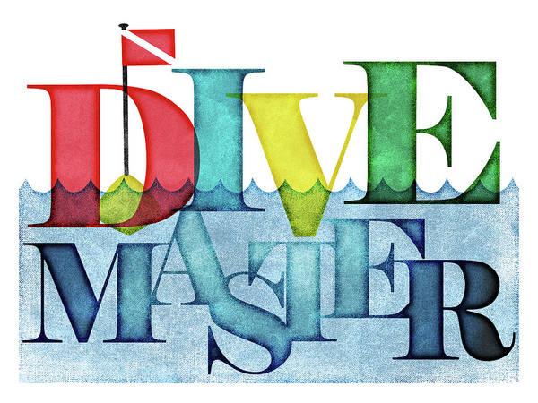 Scuba Digital Art - Divemaster Colorful Scuba by Flo Karp
