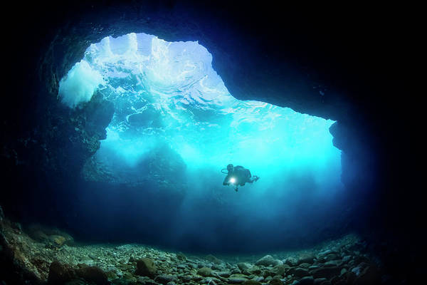 Wall Art - Photograph - Diver Inside A Shallow Tide Pool Canyon by Dave Fleetham