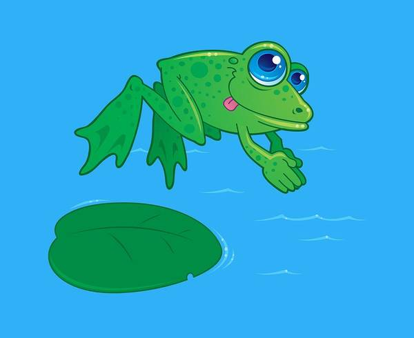 Pads Digital Art - Diving Frog by John Schwegel