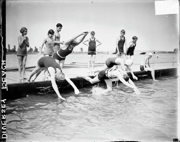 Lake Photograph - Diving Into Lake Michigan by Chicago History Museum