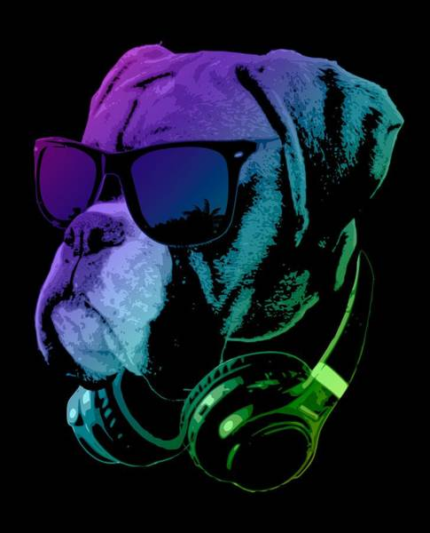 Wall Art - Digital Art - Dj Boxer Dog In Neon Lights by Filip Hellman