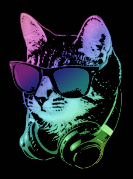 Wall Art - Digital Art - Dj Cat In Neon Lights by Filip Hellman