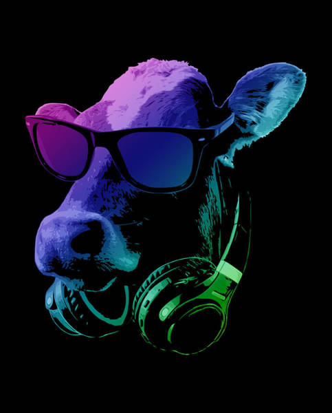 Wall Art - Digital Art - Dj Cow With Sunglasses And Headphones by Filip Hellman