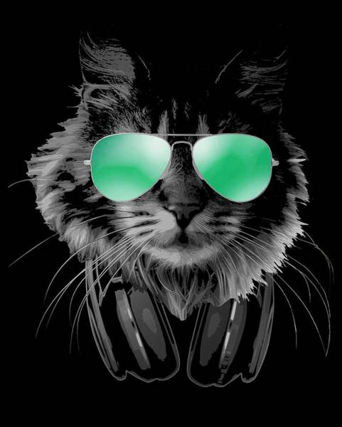Wall Art - Digital Art - Dj Furry Cat by Filip Hellman