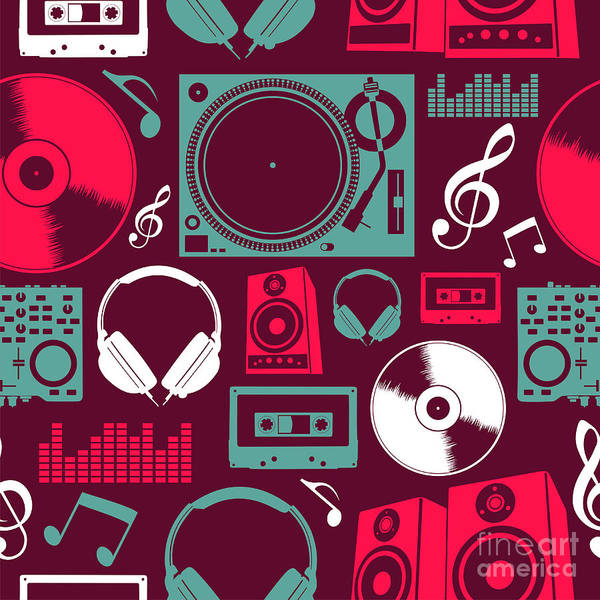 Wall Art - Digital Art - Dj Icon Set Seamless Pattern. Vector by Cienpies Design