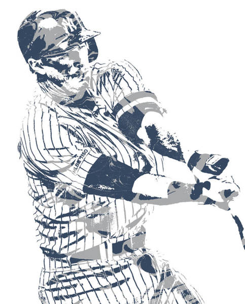 Wall Art - Mixed Media - Dj Lemahieu New York Yankees Pixel Art 3 by Joe Hamilton