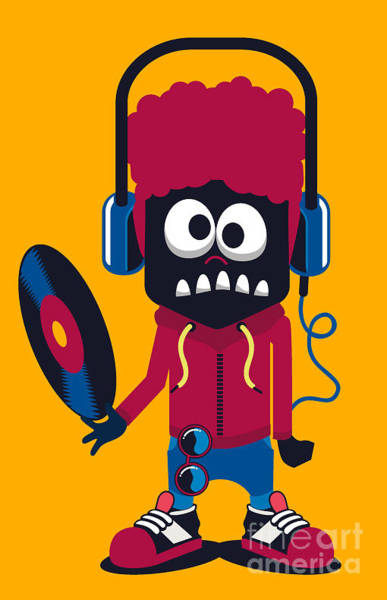 Wall Art - Digital Art - Dj Monster Vector Design by Braingraph