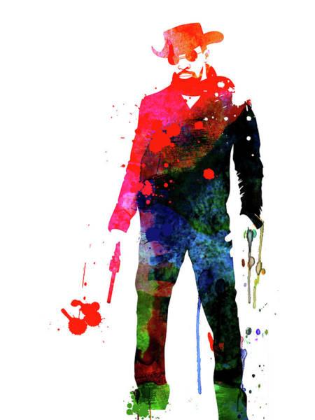 Watercolor Mixed Media - Django With A Gun Watercolor by Naxart Studio