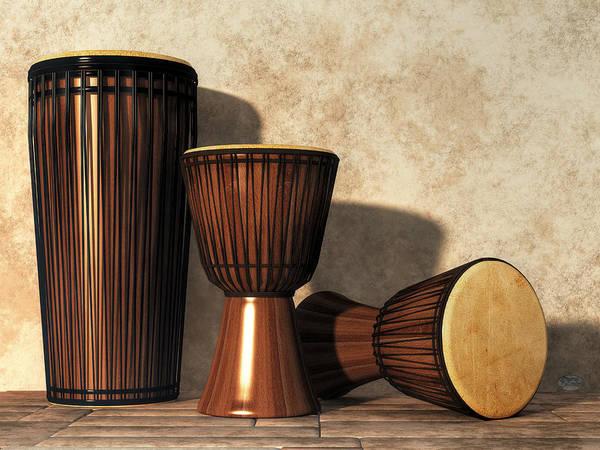 Digital Art - Djembe And Djun Drums by Daniel Eskridge