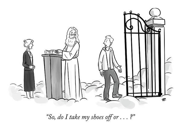 Gate Drawing - Do I Take My Shoes Off by Pia Guerra