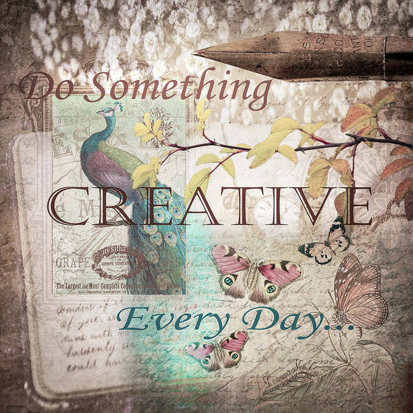 Pink And White Digital Art - Do Something Creative Every Day Vintage Art by Debra and Dave Vanderlaan