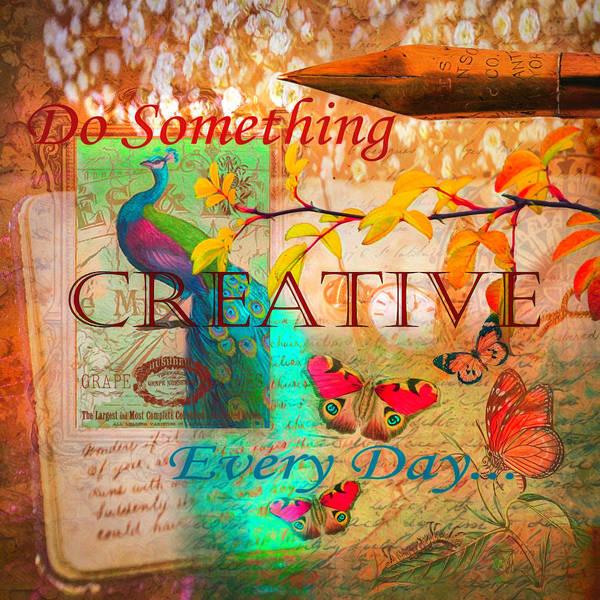 Digital Art - Do Something Creative Every Day Watercolor Painting by Debra and Dave Vanderlaan
