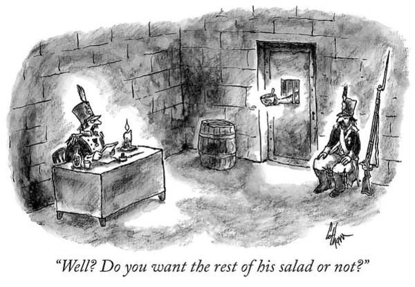 Drawing - Do You Want The Rest Of His Salad by Frank Cotham